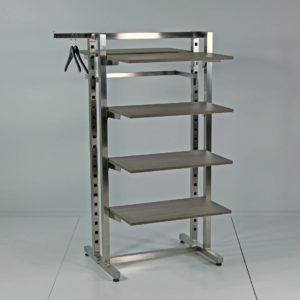Tøjstativ eller skostativ med 1 sektion som kan bestykkes med hylder, ophæng eller fronthæng