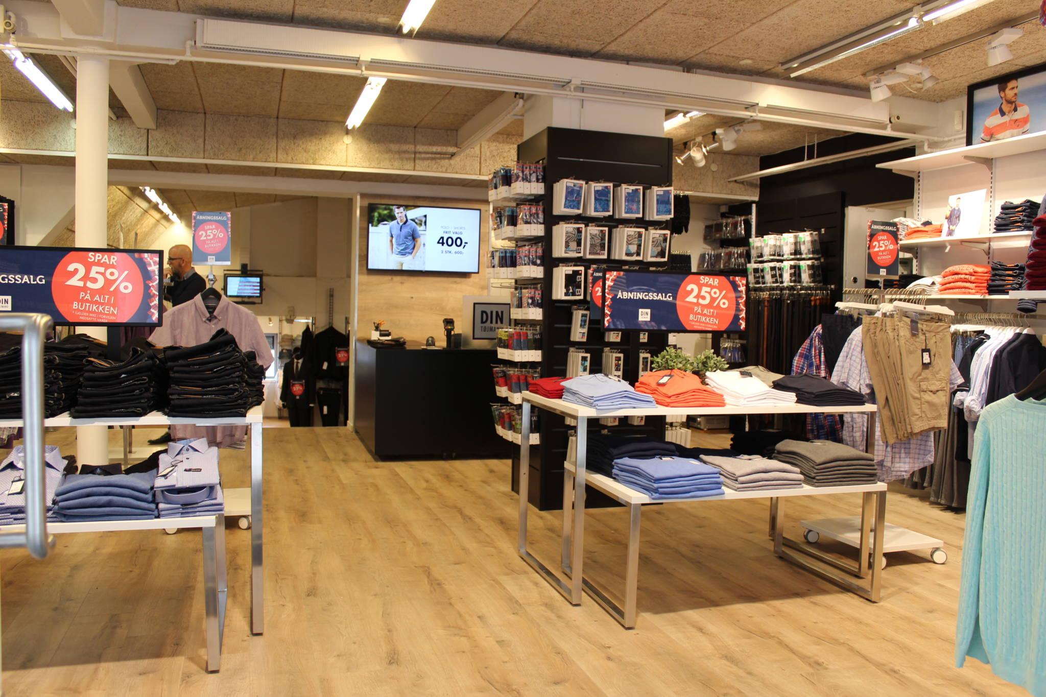 Butiksindretning til herrebutik, holdt i stilrent design