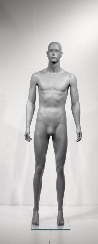 Flot abstrakt herre mannequin i moderne modegrå farve. Fås i 2 positioner