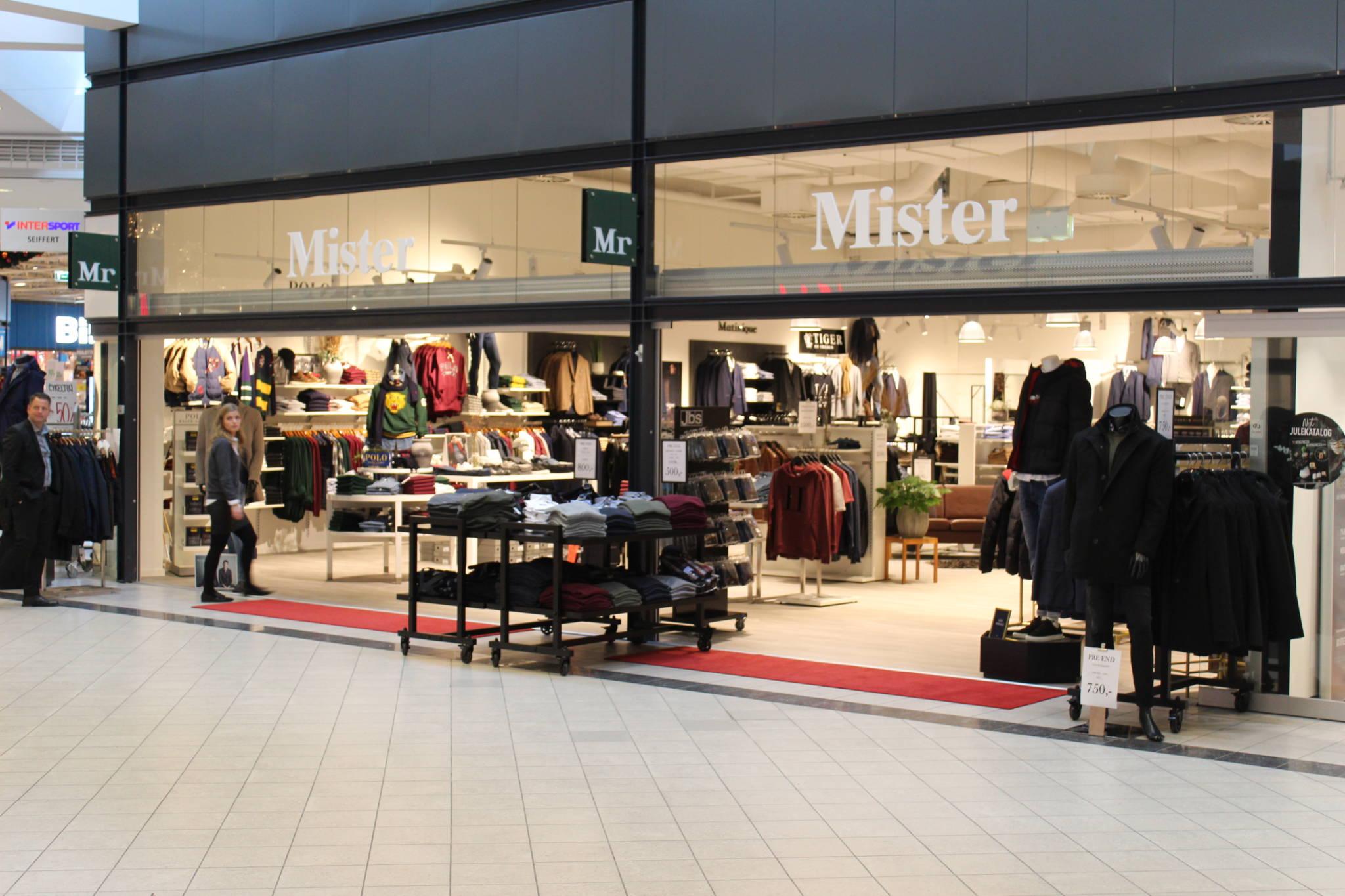 Nyåbnet mister Mr. herrebutik i Næstved, butiksindretning og butiksinventar