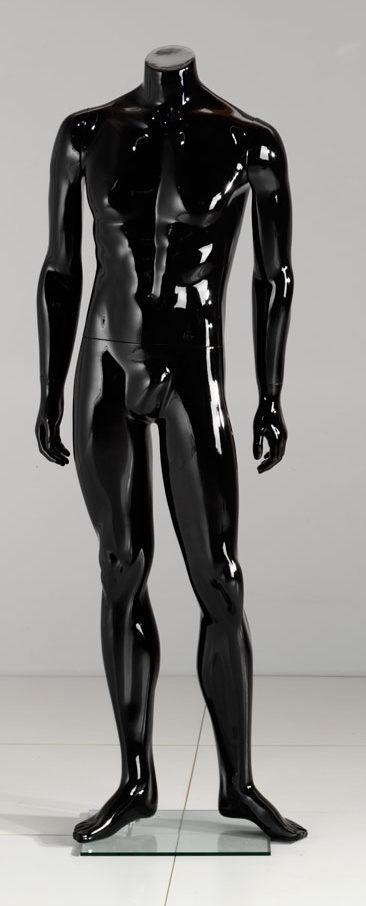 herre mannequin i sort højglans