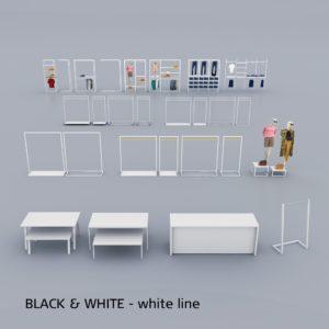 Billigt og flot butiksinventar i hvid overflade