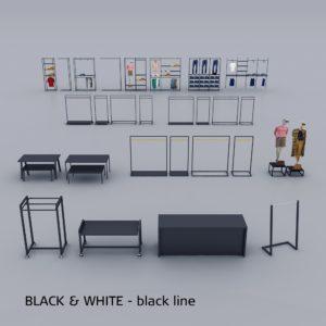 Butiksinventar sortiment i sort overflade - se også vores hvide sortiment.