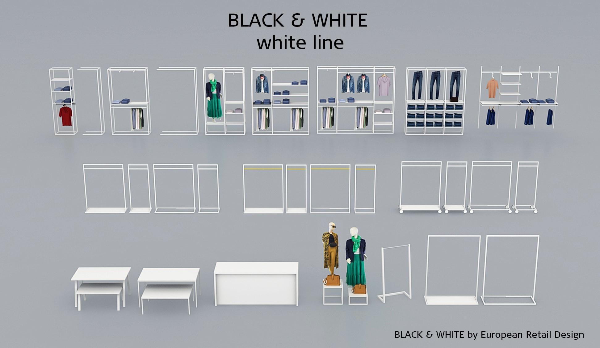 Inventar til butik i hvid. Hvidt butiksinventar. Butiksindretning i hvid.