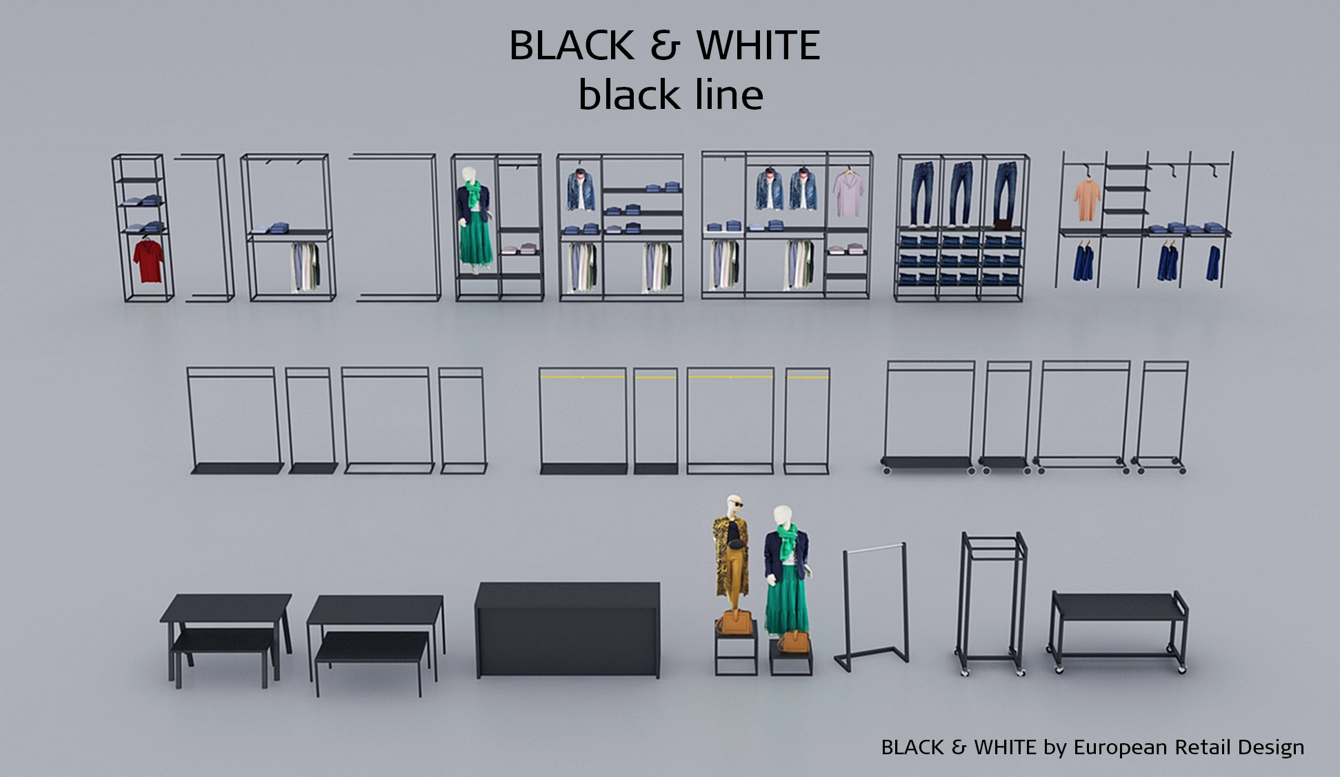 Inventar til butik i sort overflade. Butiksinventar. Butiksindretning i sort.