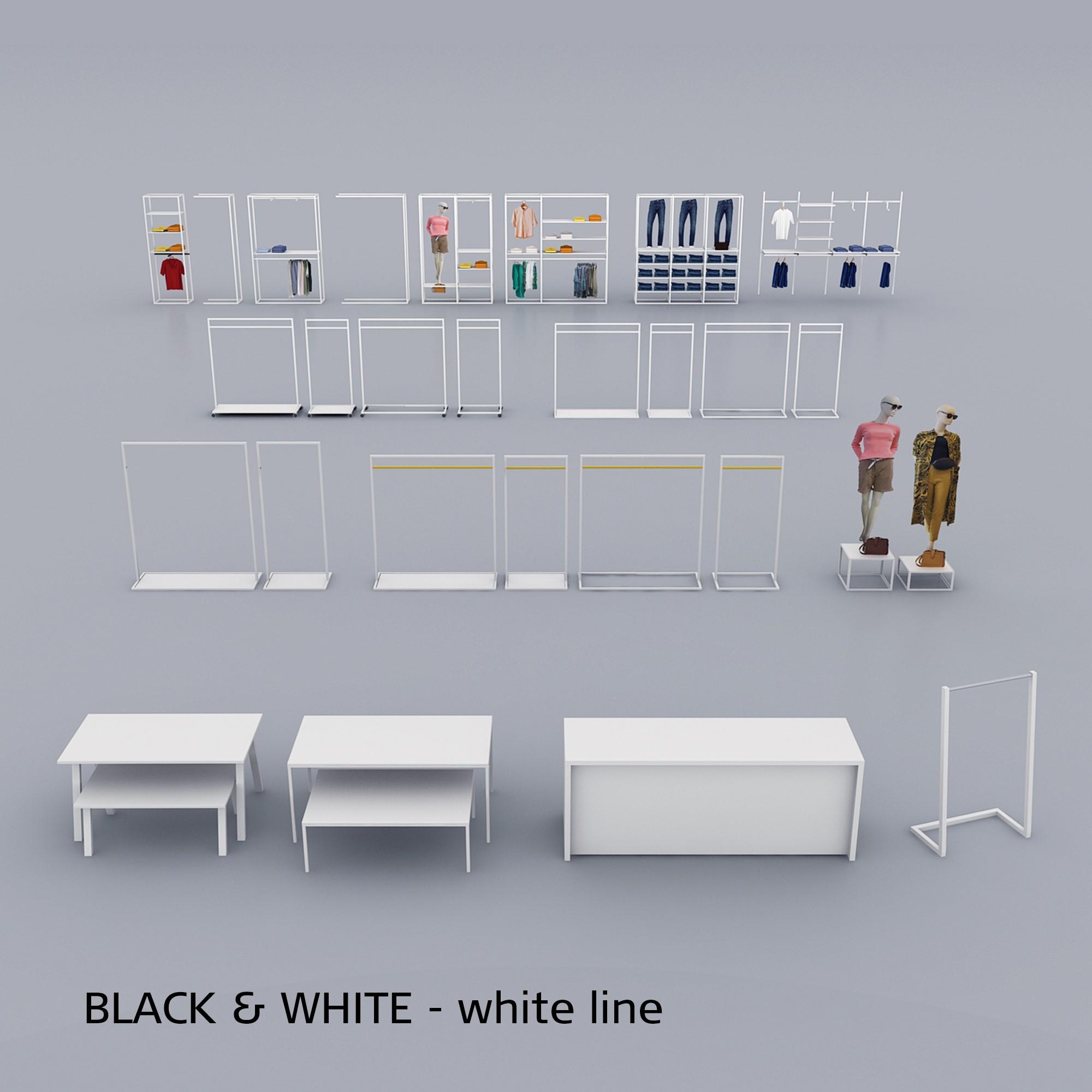 Butiksinventar i hvidt - oversigt over White-Line