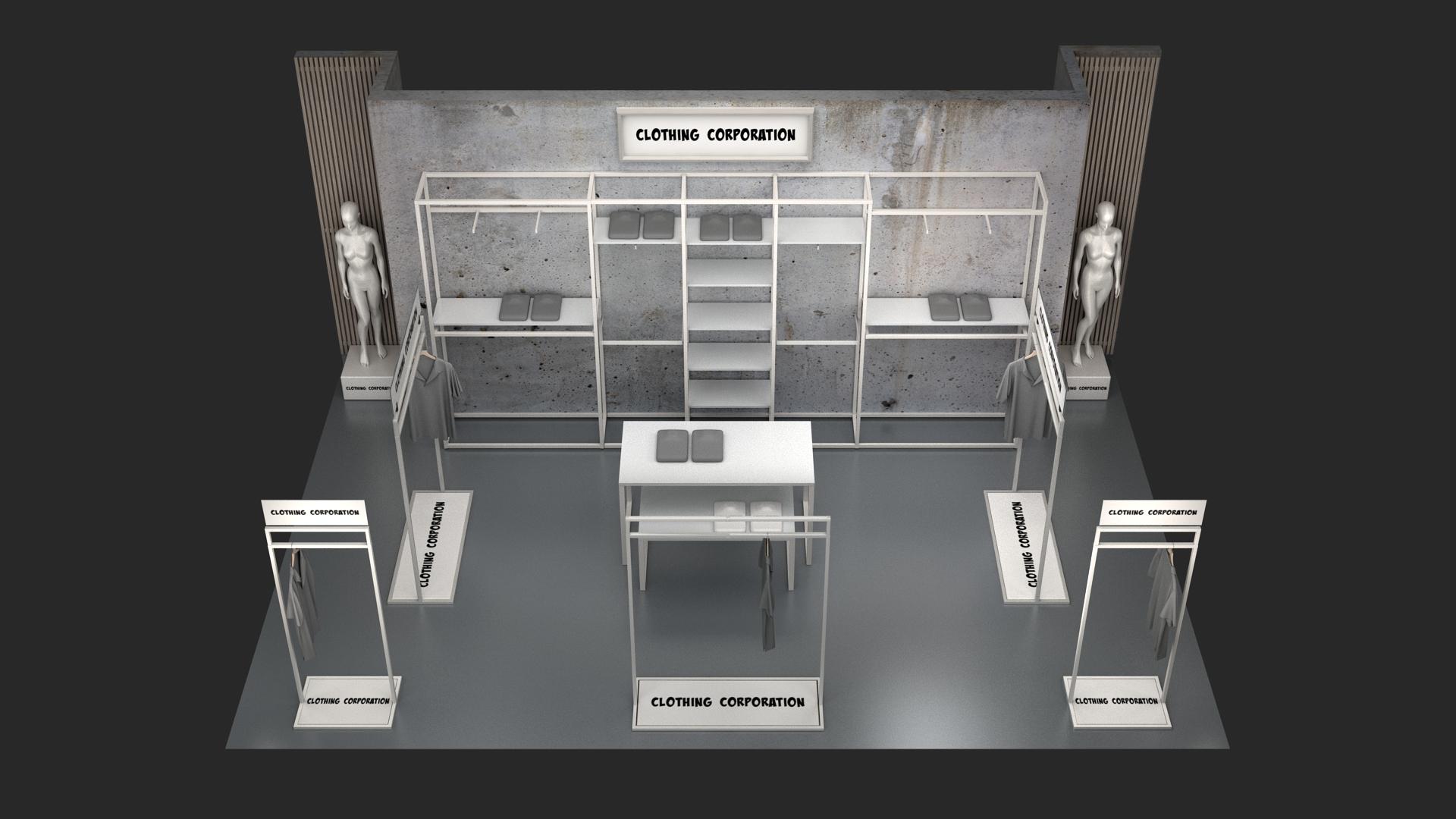 Butiksinventar i hvid overflade- shop in shop