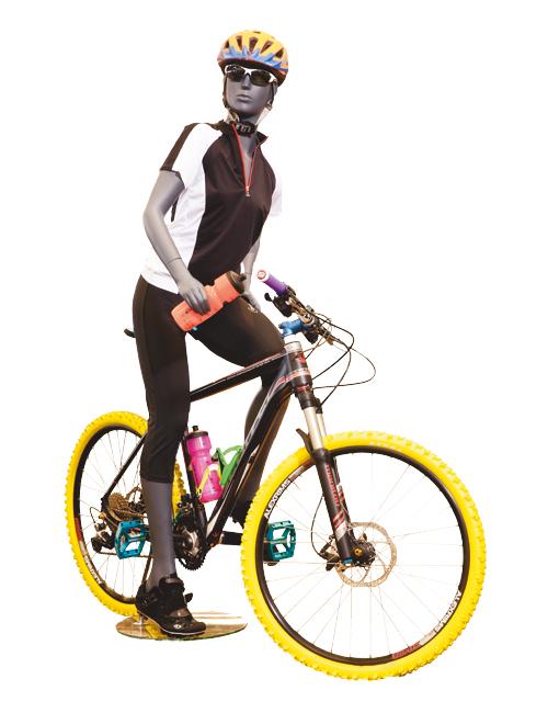 Mountainbike ryktter. Sportsmannequin dame