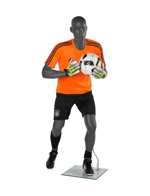 Fodboldmålmand. Sportsmannequin med fodboldtøj på.